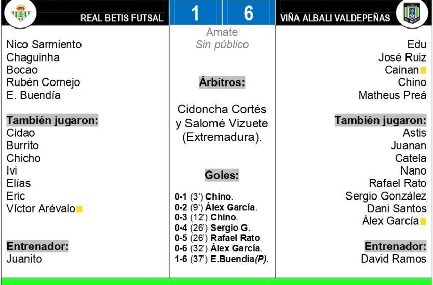 Real Betis Futsal – Viña Albali Valdepeñas: 1-6, festival azulón de juego y goles en Sevilla