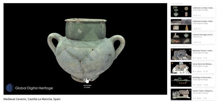 Modelo en tres dimensiones de una cerámica vidriada de época islámica procedente de Calatrava La Vieja