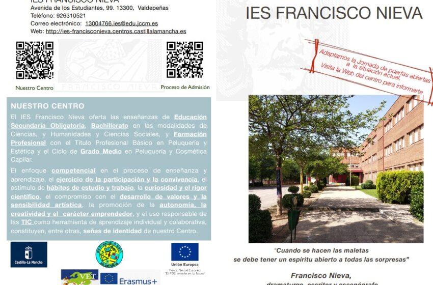El IES Francisco Nieva adapta su Jornada de puertas abiertas a las necesidades de la situación actual