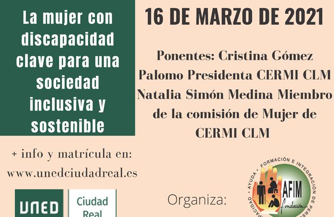 La UNED presenta mañana martes 16 de marzo, la conferencia «La mujer con discapacidad clave para una sociedad inclusiva y sostenible»