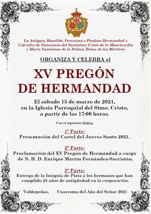 El próximo sábado la Hermandad de Misericordia y Palma celebrará el acto del XV Pregón de Hermandad y la presentación del cartel del Jueves Santo 2021
