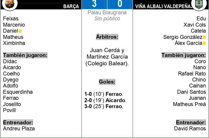 3-0| El Viña Albali Valdepeñas regresa de vacío de su visita Al Palau