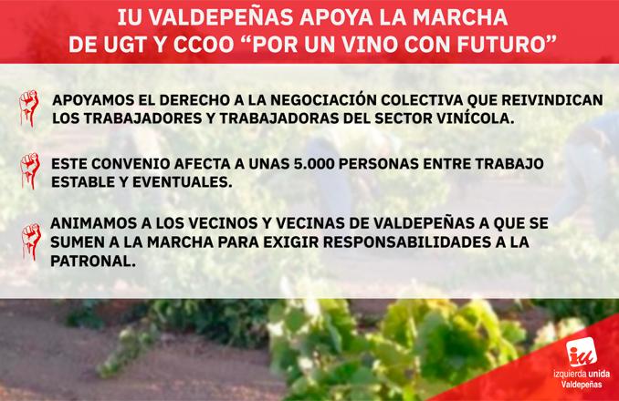 IU Valdepeñas apoya la movilización sindical por la negociación colectiva en la industria vinícola