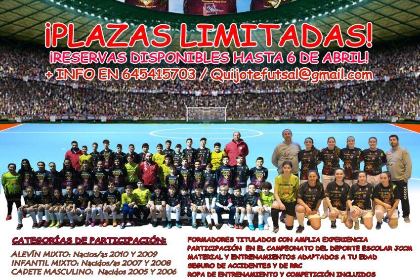 Continúan las inscripciones en la cantera Quijote Promesas del C.D. VivELA Quijote Futsal