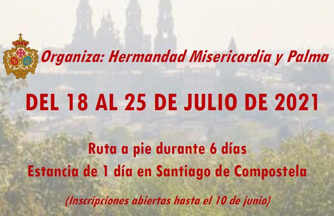 Misericordia y Palma organiza una Peregrinación a Santiago de Compostela este próximo verano, con motivo del «Xacobeo 2021»