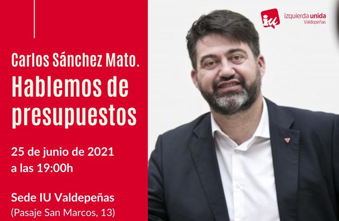 IU Valdepeñas realizará una conferencia sobre presupuestos participativos a cargo de Carlos Sánchez Mato