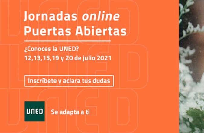 Del 12 al 20 de julio se van a desarrollar las Jornadas online de Puertas Abiertas UNED 2021