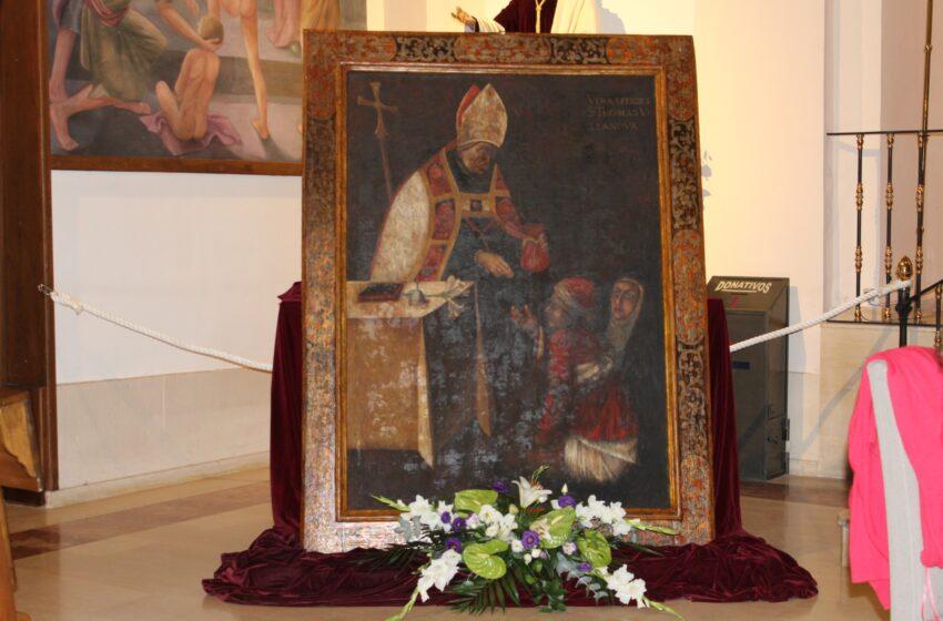 Con la restauración del cuadro de Santo Tomás de Villanueva de la Iglesia de la Trinidad se completa la trilogía de obras rehabilitadas con motivo del IV Centenario de la Beatificación del Santo