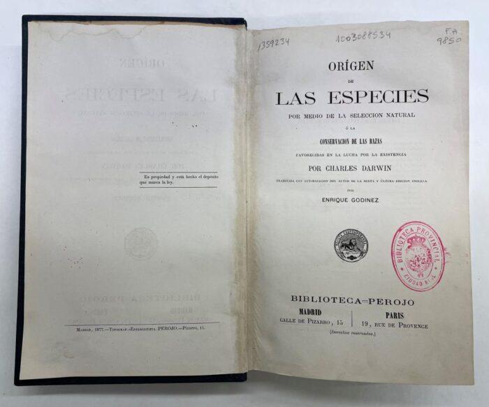 'Origen de las Especies' de Darwin