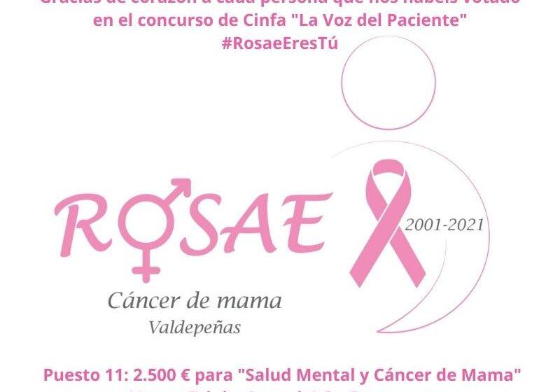 ROSAE, Asociación de Mujeres Afectadas de Cáncer de Mama de Valdepeñas entre las 50 entidades de pacientes que recibirán las aportaciones de 'La voz del paciente' de Cinfa